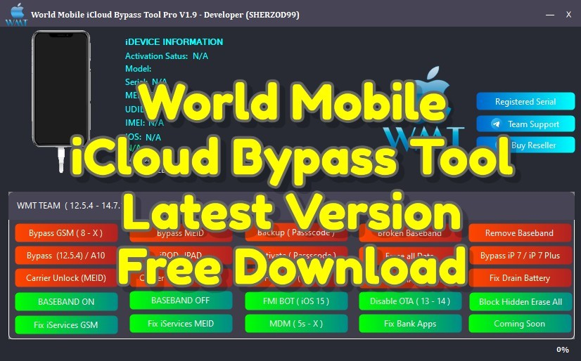 World Mobile iCloud Bypass Tool V1.9 Pro Free Download